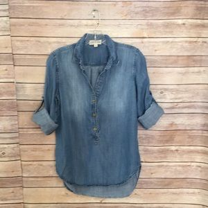 Anthropologie Cloth & Stone Chambray Popover